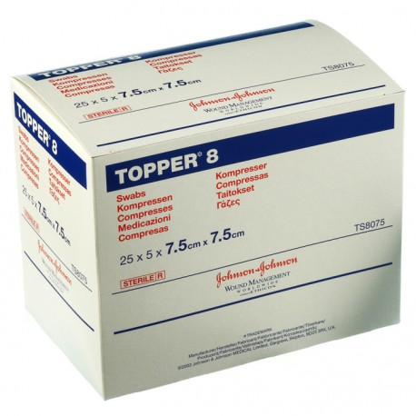 Topper 8 Sterile Swabs 7.5cm x 7