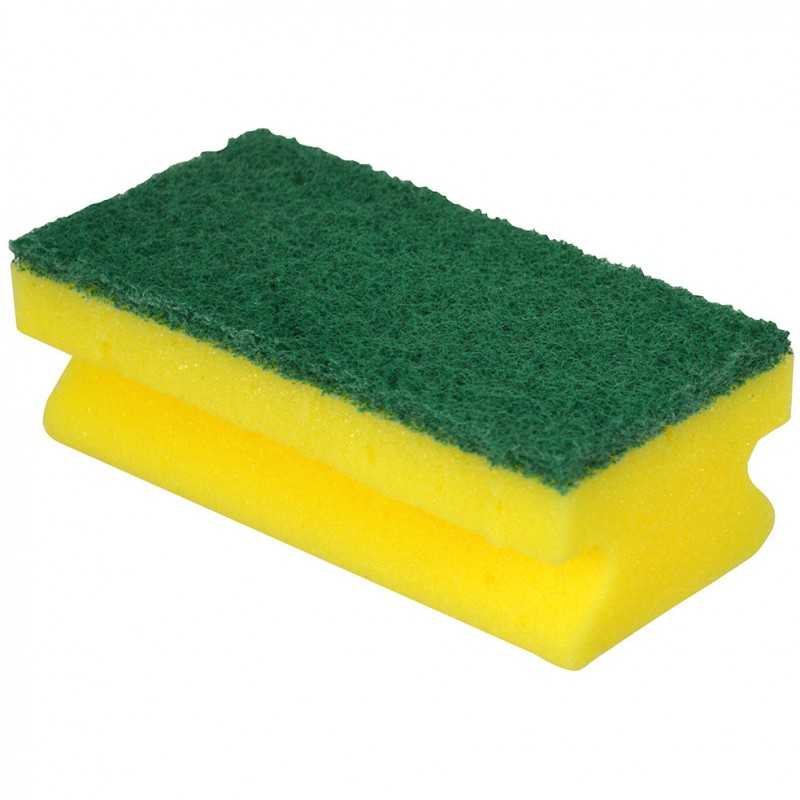 Finger grip sponge with green scourer 10 pack for Sponge co uk