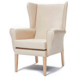 Morley Chair Faux Leather With Wings - Express Delivery