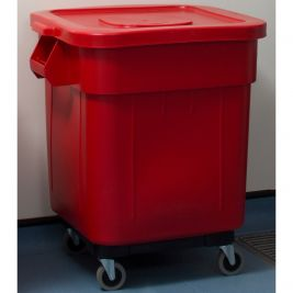 Huskee Bin with Lid and Wheels 140 Litres Red