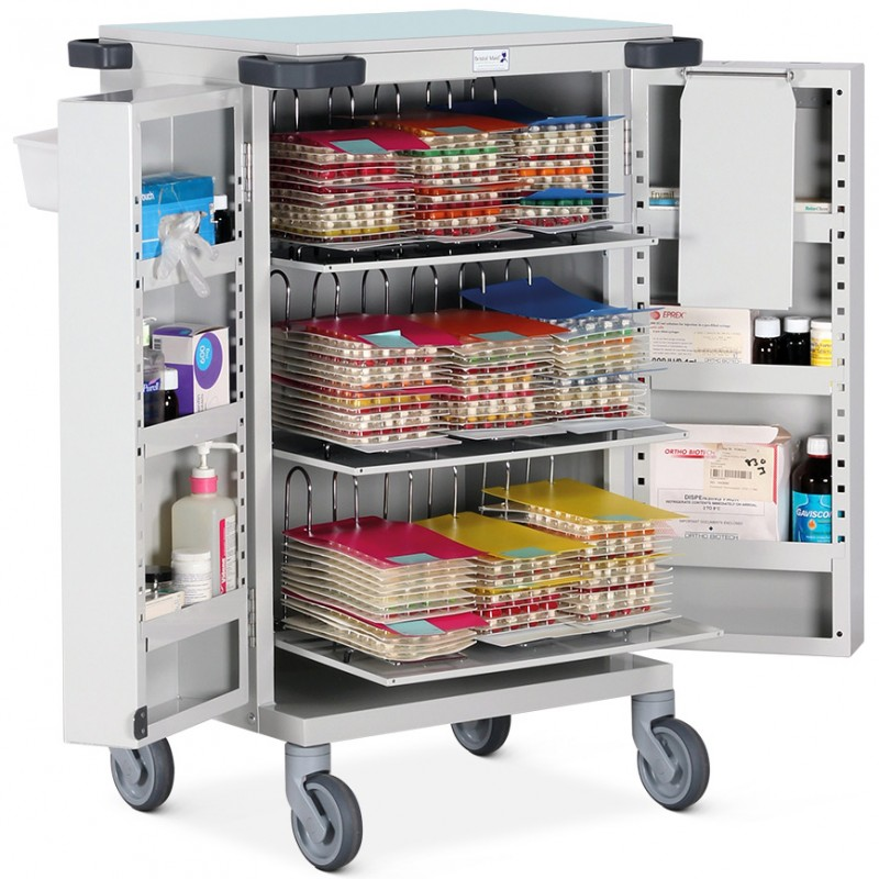 Pharmacy Trolley Blister Pack (MDS) Double Door Nine Frames