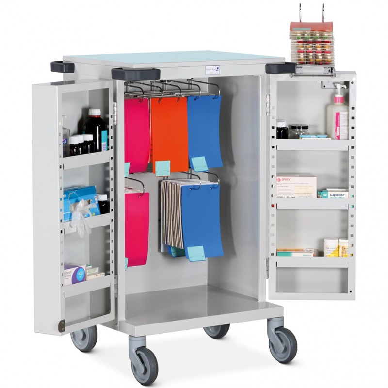 Pharmacy Trolley Blister Pack (MDS) Double Door Six Frames