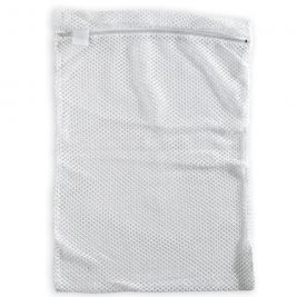 Mesh Laundry Bag Zip Closure White 30cmx40cm