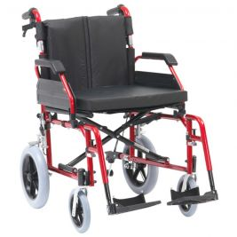 XS Aluminium Transit Wheelchair 50cm Seat Red