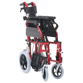 XS Aluminium Transit Wheelchair 50cm Seat Red