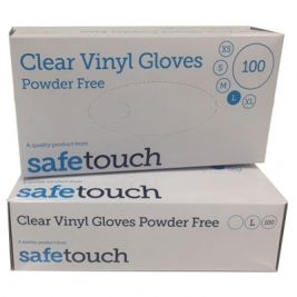 Safetouch Clear Vinyl Powdered Gloves Large 10x100