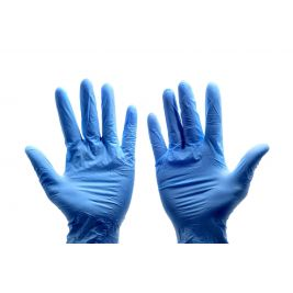 VINYL GLOVES BLUE P/F LARGE (CASE)10X100