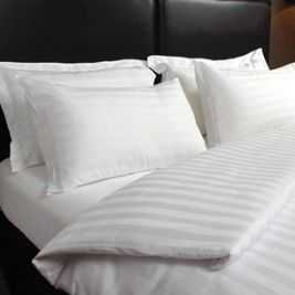 Satin Stripe White Percale - Single Duve