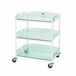 DT6 Dressing Trolley with 3 Glass Effect Safety Trays