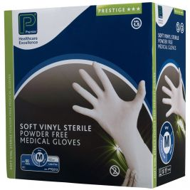 Premier Prestige Sterile Soft Vinyl P/F Gloves Medium 1x50