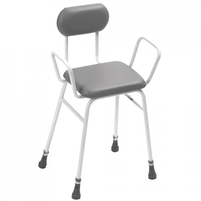 Adjustable Height Perch Stool With Arms And Padded Back