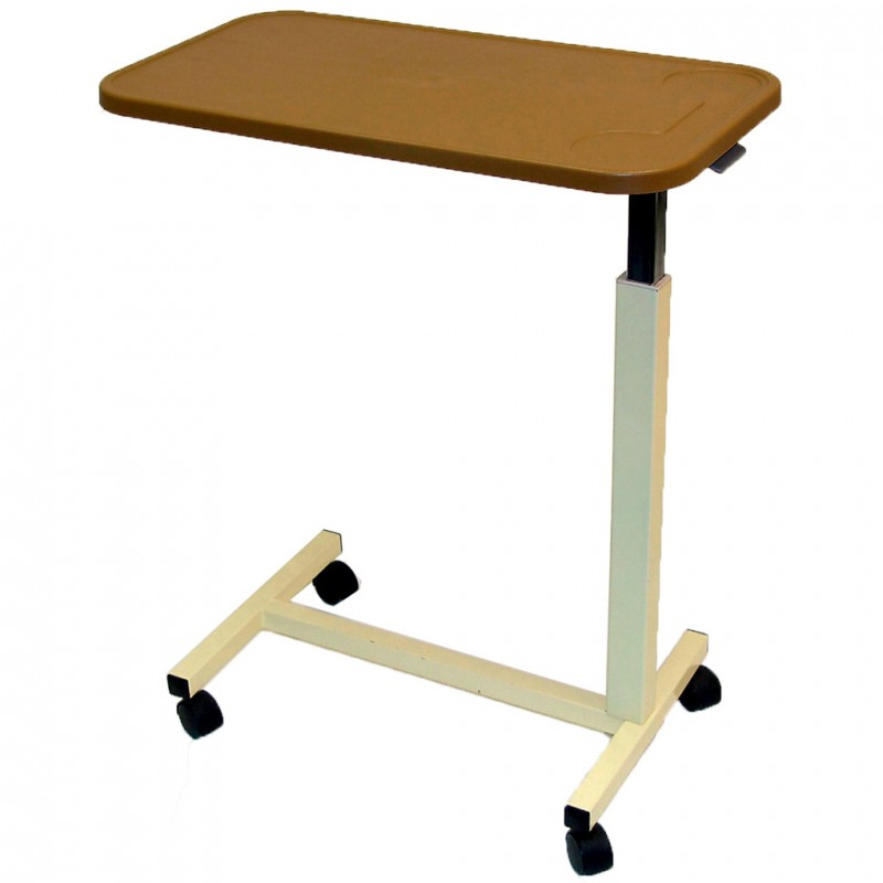 Adjustable Height Over Bed Table With Plastic Top