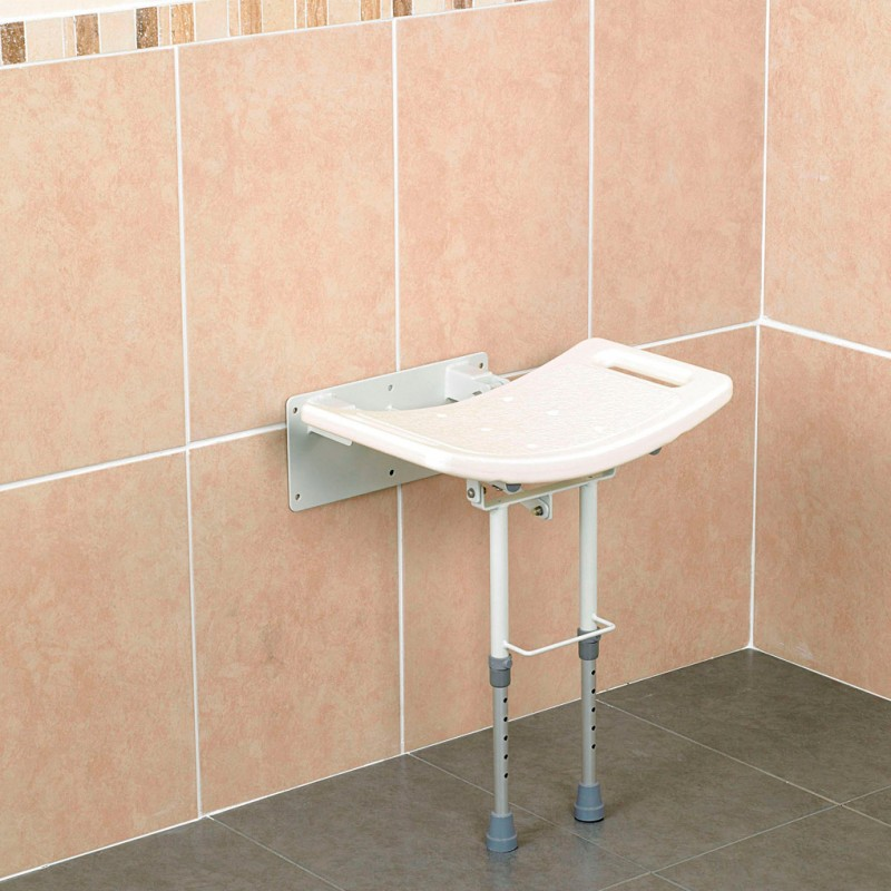Lift up shower seat with adjustable height leg