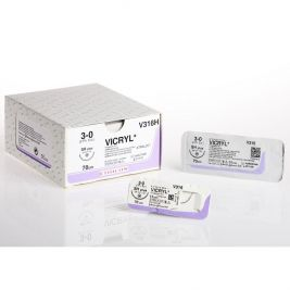 45cm Vicryl Violet 3-0 W/ 22mm 1/2 Circle Conven Cut Needle